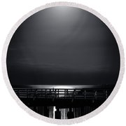 Full Moon Over Bramble Bay Round Beach Towel