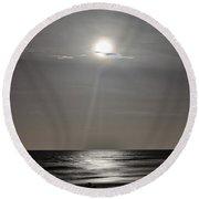 Full Moon Over Daytona Beach Round Beach Towel