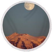 Full Moon Over Mount Rainier Round Beach Towel