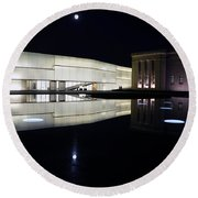 Full Moon Over Nelson Atkins Museum In Kansas City Round Beach Towel