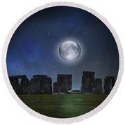 Full Moon Over Stonehenge Round Beach Towel