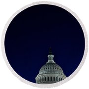 Full Moon Over Us Capitol Round Beach Towel