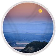 Full Moon Over Vejer Cadiz Spain Round Beach Towel