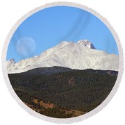 Full Moon Setting Over Snow Covered Twin Peaks  Round Beach Towel