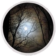 Full Moon Through The Trees Round Beach Towel by Patricia Overmoyer