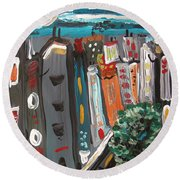 Round Beach Towel featuring the painting Full Moon-wind In The Tree by Mary Carol Williams