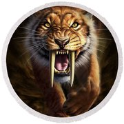 Full On View Of A Saber-toothed Tiger Round Beach Towel