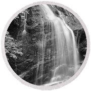 Fuller Falls Waterfall Black And White Round Beach Towel