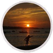 Fun At Sunset Round Beach Towel