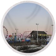 Fun At The Shore Seaside Park New Jersey Round Beach Towel