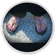 Round Beach Towel featuring the photograph Fun Feet by Emmy Marie Vickers