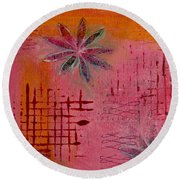 Round Beach Towel featuring the painting Fun Flowers In Pink And Orange 1 by Jocelyn Friis