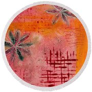 Round Beach Towel featuring the painting Fun Flowers In Pink And Orange 2 by Jocelyn Friis