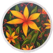 Fun Flowers Round Beach Towel