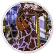 Fun Giraffe Carousel Ride Round Beach Towel