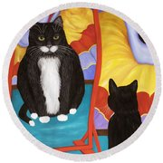Fun House Fat Cat Round Beach Towel