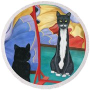 Fun House Skinny Cat Round Beach Towel