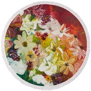 Fun With Flowers Round Beach Towel