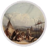 Funeral Scaffold Of A Sioux Chief Round Beach Towel