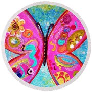 Round Beach Towel featuring the painting Funky Butterfly by Eloise Schneider