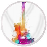 Funky Colored Guitar Round Beach Towel