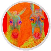 Funky Donkeys Art Prints Round Beach Towel