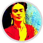 Round Beach Towel featuring the mixed media Funky Frida IIi by Michelle Dallocchio