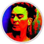 Round Beach Towel featuring the mixed media Funky Frida by Michelle Dallocchio