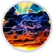 Funky Glowing Electrified Rainbow Clouds Abstract Round Beach Towel