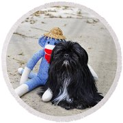 Funky Monkey And Sweet Shih Tzu Round Beach Towel