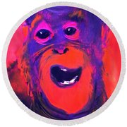Funky Monkey Happy Chappy Round Beach Towel