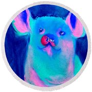 Funky Piggy Blue Round Beach Towel