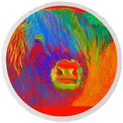 Funky Scottish Highland Cow Wildlife Art Prints Round Beach Towel
