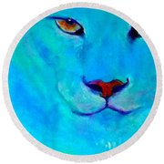 Funky Snow Leopard Turquoise Round Beach Towel