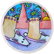 Funny Bunny Slippers Round Beach Towel