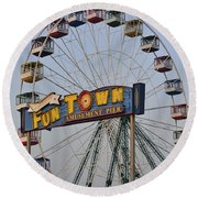 Funtown Ferris Wheel Round Beach Towel