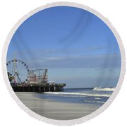 Funtown Pier Seaside Heights Nj Jersey Shore Round Beach Towel