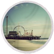 Funtown Pier Seaside Heights New Jersey Vintage Round Beach Towel