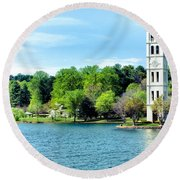 Furman Lake Round Beach Towel by Lynne Jenkins