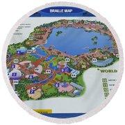 Future World Map Walt Disney World Digital Art Round Beach Towel