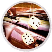 Fuzzy Dice Round Beach Towel by Valerie Reeves