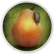 Round Beach Towel featuring the digital art Fuzzy Pear by Nina Bradica
