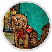 Fuzzy The Dog Round Beach Towel