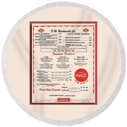 Fw Woolworth Lunch Counter Menu Round Beach Towel