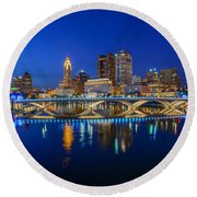 Fx2l530 Columbus Ohio Night Skyline Photo Round Beach Towel