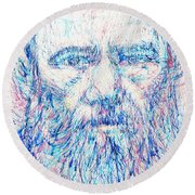 Fyodor Dostoyevsky / Colored Pens Portrait Round Beach Towel by Fabrizio Cassetta