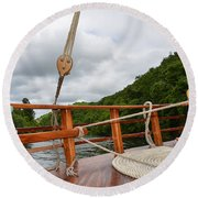 Round Beach Towel featuring the photograph Boat Rope by Dany Lison
