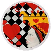 Round Beach Towel featuring the painting Gabby Queen Of Hearts by Carol Jacobs
