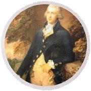 Gainsborough's Francis Bassat -- Lord De Dunstanville Round Beach Towel