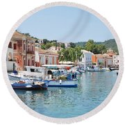 Gaios Harbour On Paxos Round Beach Towel
